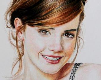 Emma Watson color pencil realistic portrait