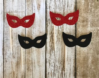 24 Masquerade Party Mask Cupcake Toppers