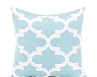 SALE ENDS SOON Trellis Pillow Cover, Baby Blue Throw Pillow, Blue Nursery Decor, Blue and White Baby's Room Decor, Crib Pillows, Canal Blue