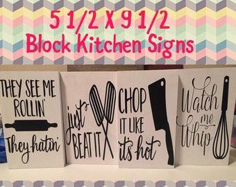 Kitchen Wood Block Sayings
