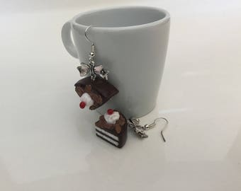 Black Forest in polymer clay earrings