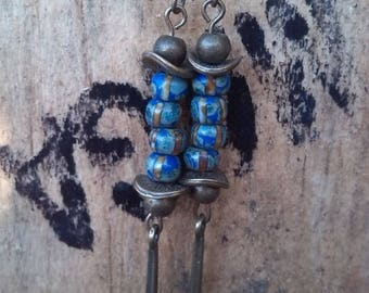 Pendants earrings blue and bronze Czech glass beads