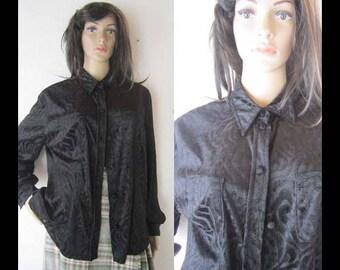 Vintage 80s velvet blouse Flou blouse velvet oversize