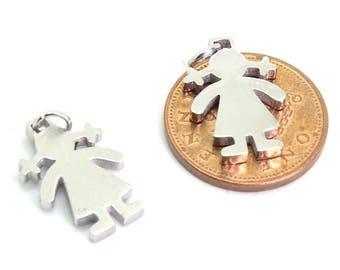 Stainless girl stamping blank| girl charm stainless steel blank | children's stainless blank| female stainless blank | stainless