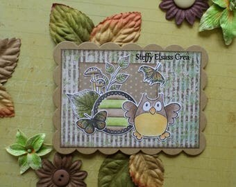Large Rectangle scalloped Foliage Green Brown OWL magnet Magnet