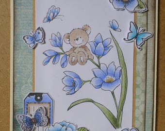 Card happy birthday bear blue flowers