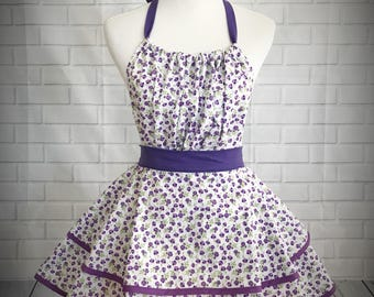 Pirple pansy retro pinup apron // Great gift for bridal shower, houswarming gift or just cause!