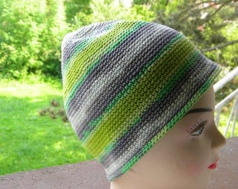 cotton summer Hat striped green and grey