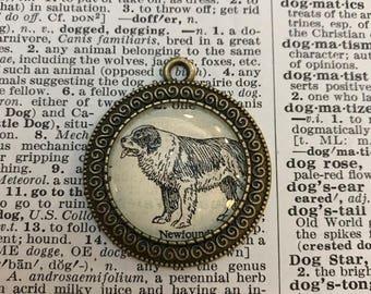 Handmade Vintage Dictionary Dog Necklace - Newfoundland