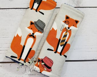 Baby car seat strap Cover Fox-car seat neck strap-stroller seat strap-reversible seat strap-infant car seat strap-woodland car seat strap