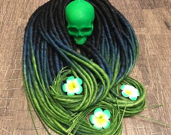 ombre to green synthetic dreads. Ombre from black to dark blue to green.  Double or Single ended dreadlocks