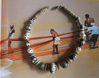 Boho tribal rustic african crew necklace