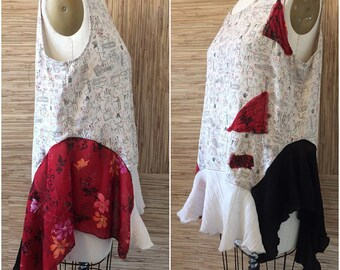 Upcycled silk tunic top-patchwork hemline-repurposed blouse-Hippie tank-Plus Size shirt 1X XL