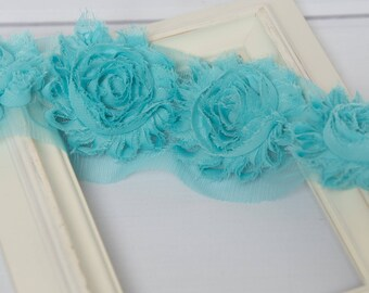 Teal shabby flower trim by the yard, blue green shabby rose trim, wholesale flower trim, shabby trim, chiffon trim, flowers by the yard