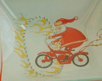 Vintage Santa Claus Riding a Motorcycle Glass Candy Dish, Christmas Holiday Decoration, St Nick Trinket Holder, Mint Bowl, Secret Santa Gift
