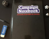 Campaign Notebook / Journal Hardcover Book, D&D, DnD, Dungeons and Dragons, Pathfinder, RPG