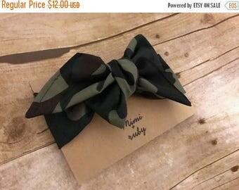 Camouflage headwrap, camouflage headband, camouflage bow, camo headband, camo bow, bow headband, headwrap, fabric wrap, hair bow