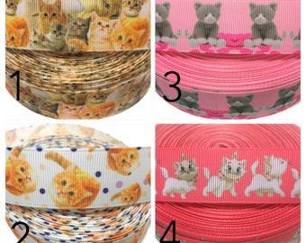 "1"" Kitten Ribbon, Kitty Cat Ribbon, Marie Ribbon, Cute Cat Ribbon, Cat Grosgrain Ribbon, Cat Ribbon, Kitty Ribbon by the Yard"