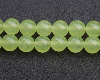 Bright Green Chalcedony beads - 15'' Full Strand Gemstone Chalcedony beads - Genuine Natural Stone bead - 4mm 6mm 8mm 10mm 12mm 14mm - B212