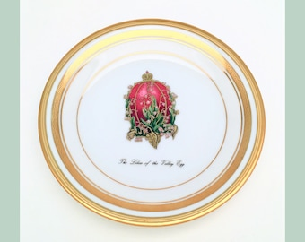 Vintage Faberge China Imperial Egg Collection Bread & Butter Plate, Lilies of the Valley Egg