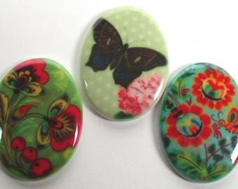 3 - Porcelain Decorative Cabochons 30x40 Folk Art Flowers Butterfly Mixed Jewelry/Beading Supplies - Handmade Cabochon For Jewelry Making