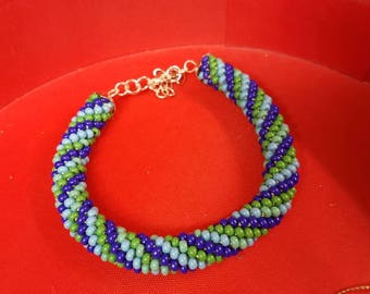 Blue and green rope bracelet