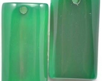 2x Green Natural Agate Semi-precious Gemstone Pendant Jewellery Making