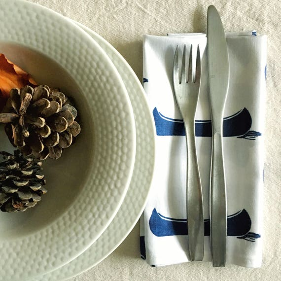 Organic cotton cloth napkins, set of four navy blue dinner napkins blue canoes cottage chic table linens gift new homeowners eco friendly
