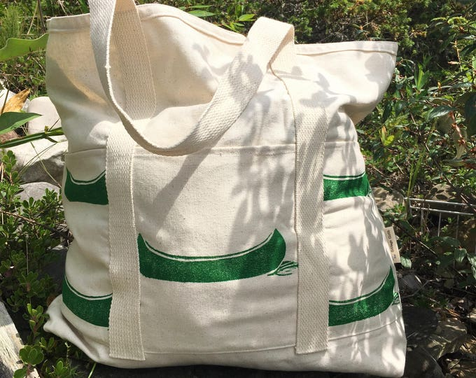 Organic canvas beach bag - handprinted canoes in camp stove green