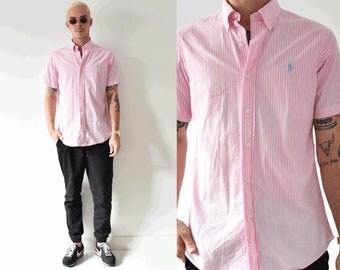 Medium Short Sleeve Pastel Pink Striped Polo Ralph Lauren Button Up Logo Shirt