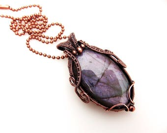 purple labradorite pendant-copper wrap-wire weave-wire wrap-handmade pendant-wire wrapped pendant-artisan jewelry-Melissa Wood Jewelry-boho