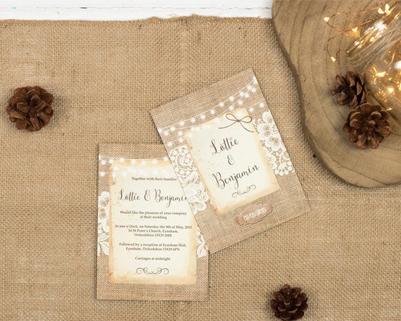 Rustic Burlap & Lace Wedding Invitation Set Sample
