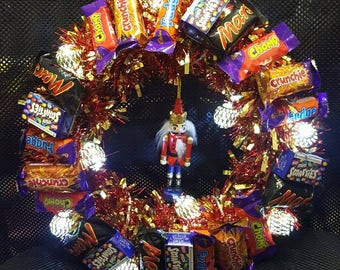 Unique Christmas chocolate tinsel wreath gift wrapped with led lights decoration