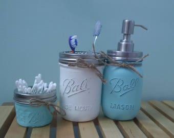 3pc Mason Jar bathroom Set - Patina/white