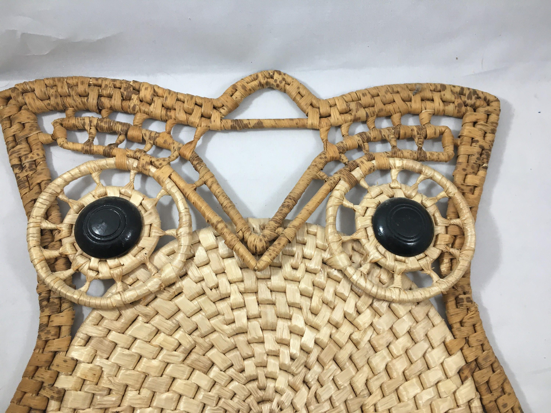Vintage Rattan/Wicker Woven Owl Wall Pocket Boho Wall Hanging ...