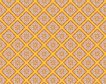 Sale Primavera Tile in Tangerine Cotton Fabric by Patty Young for Riley Blake