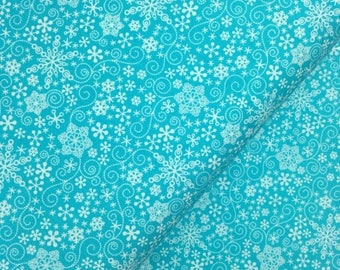 Sale Dark Turquoise Mulberry Lane Snowflakes by Cherry Guidry for Contempo Studios, Christmas Fabric, Snowflake, Winter, Turquoise Winter Fa