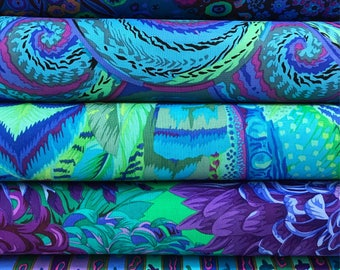 Bundle of Kaffe Fassett Fabrics 5 fabrics - Kaffe Fassett Bundle, Purple, Blue, Green Kaffe Fassett