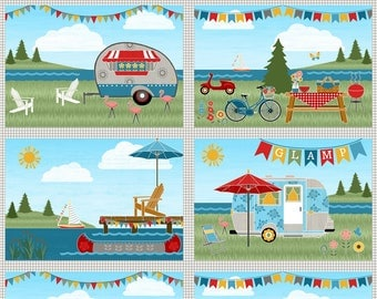 Let's Go Glamping Placemat Panel from the Let's Go Glamping Collection by Anne Rowan for Wilmington Prints, Camping, Travel Trailer