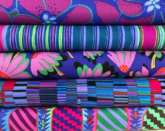 Bundle of 5 Purple and Blue Kaffe Fassett Fabrics, Kaffe Fassett Bundle, 5 fabrics, Choose the Bundle Size