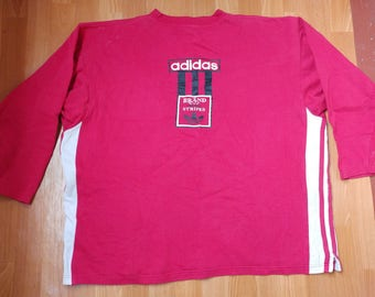 ADIDAS sweatshirt, red vintage hip hop shirt of 90s hip-hop clothing, old school sweat shirt, 1990s gangsta rap, size XL D8