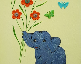 Picture for kids room blue elephant acrylic painting hand painted glitter animals flowers young girl sweet Summer
