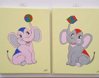 Picture for kids room elephant acrylic painting hand painted canvas circus animals