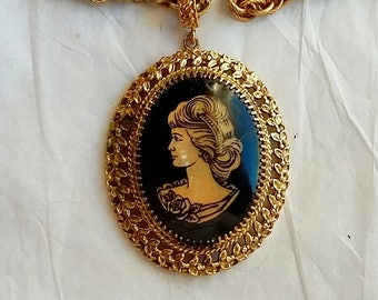 Vintage Whiting Davis Cameo Necklace & Earring Set, Iridized, Mother of Pearl
