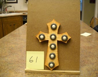 Wooden Cross with Vintage Buttons,  Item #61