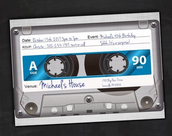 Cassette Tape Invitations, 80's and 90's Tape Cassette Birthday Invitation, Customizable, Digital, Eighties Birthday Invitation, Nineties