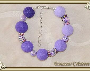 purple bracelet purple beads sanded 101026