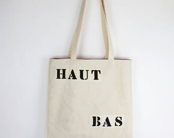 """Tote bag """"high low"""" in ecru cotton lined with Pocket"""