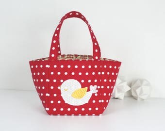 "LITTLE girl ""baby"" basket style bag in red cotton with white polka dots"