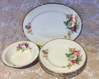 Vintage Royal Swan Riverdale pattern dinner plate service bowl and platter 22 Kt gold trim